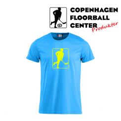 CFC T-shirt - Logo - Neon Blå, neon gul logo
