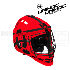 Unihoc Shield Målmandshjelm neon red/black - Junior