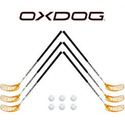 Oxdog RC1 White Floorball Stavsæt - 6 stave inkl. 6 bolde