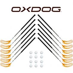 Oxdog RC1 White Floorball Stavsæt - 12 stave inkl. 12 bolde