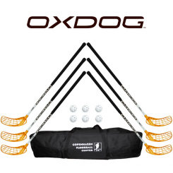 Oxdog RC1 White Floorball Stavsæt - 6 stave inkl. 6 bolde og en toolbag