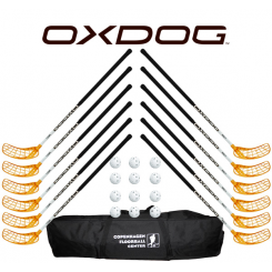 Oxdog RC1 White Floorball Stavsæt - 12 stave inkl. 12 bolde og en toolbag