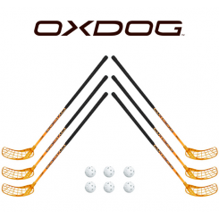Oxdog RC1 Orange Floorball Stavsæt - 6 stave inkl. 6 bolde