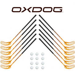 Oxdog RC1 Orange Floorball Stavsæt - 12 stave inkl. 12 bolde
