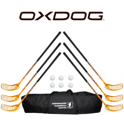 Oxdog RC1 Orange Floorball Stavsæt - 6 stave inkl. 6 bolde og en toolbag
