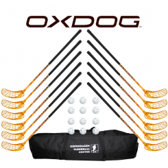 Oxdog RC1 Orange Floorball Stavsæt - 12 stave inkl. 12 bolde og en toolbag
