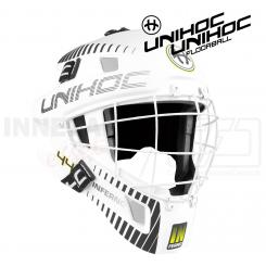 Unihoc Inferno 44 Målmandshjelm white/neon yellow