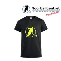 Floorballcentret T-shirt - Logo - sort m. neon gul