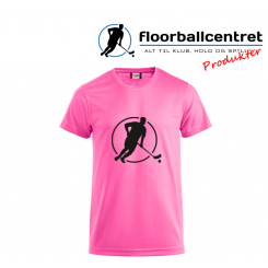 Floorballcentret T-shirt - Logo - pink m. sort