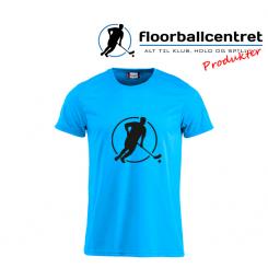 Floorballcentret T-shirt - Logo - blå m. sort