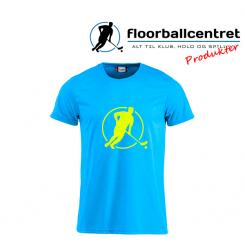 Floorballcentret T-shirt - Logo - blå m. neon gul