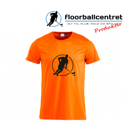 Floorballcentret T-shirt - Logo - orange m. sort