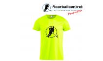 Floorballcentret T-shirt - Logo - neon gul m. sort