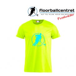 Floorballcentret T-shirt - Logo - neon gul m. blå