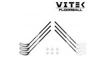 Vitek Exercise v.2 shiny Floorball Stavsæt - 6 stave inkl. 6 bolde