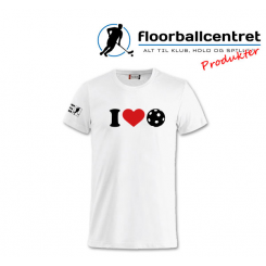 Floorballcentret T-shirt - I LOVE FLOORBALL - Hvid
