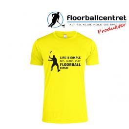 Floorballcentret T-shirt - Life Is Simple - gul