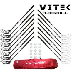 Familiestavpakke - Vitek Exercise v.2 mat Floorball Stavsæt - 15 stave inkl. 15 bolde og toolbag