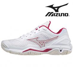 Mizuno Wave Stealth V Dame white/whitesand/persianred